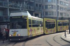Un tram de la côte belge en ville de Oostende