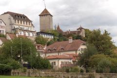 Vue du Château de Morat depuis le débarcadère.